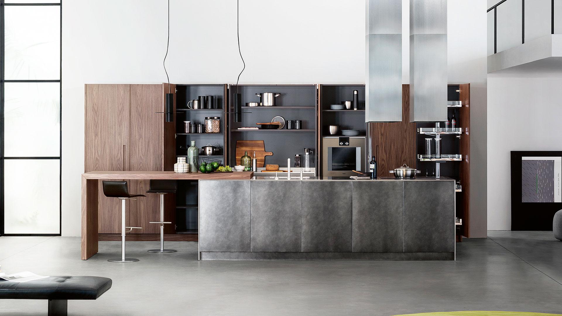 Cucina in legno e acciaio con isola D90 | Collezioni Cucine ...