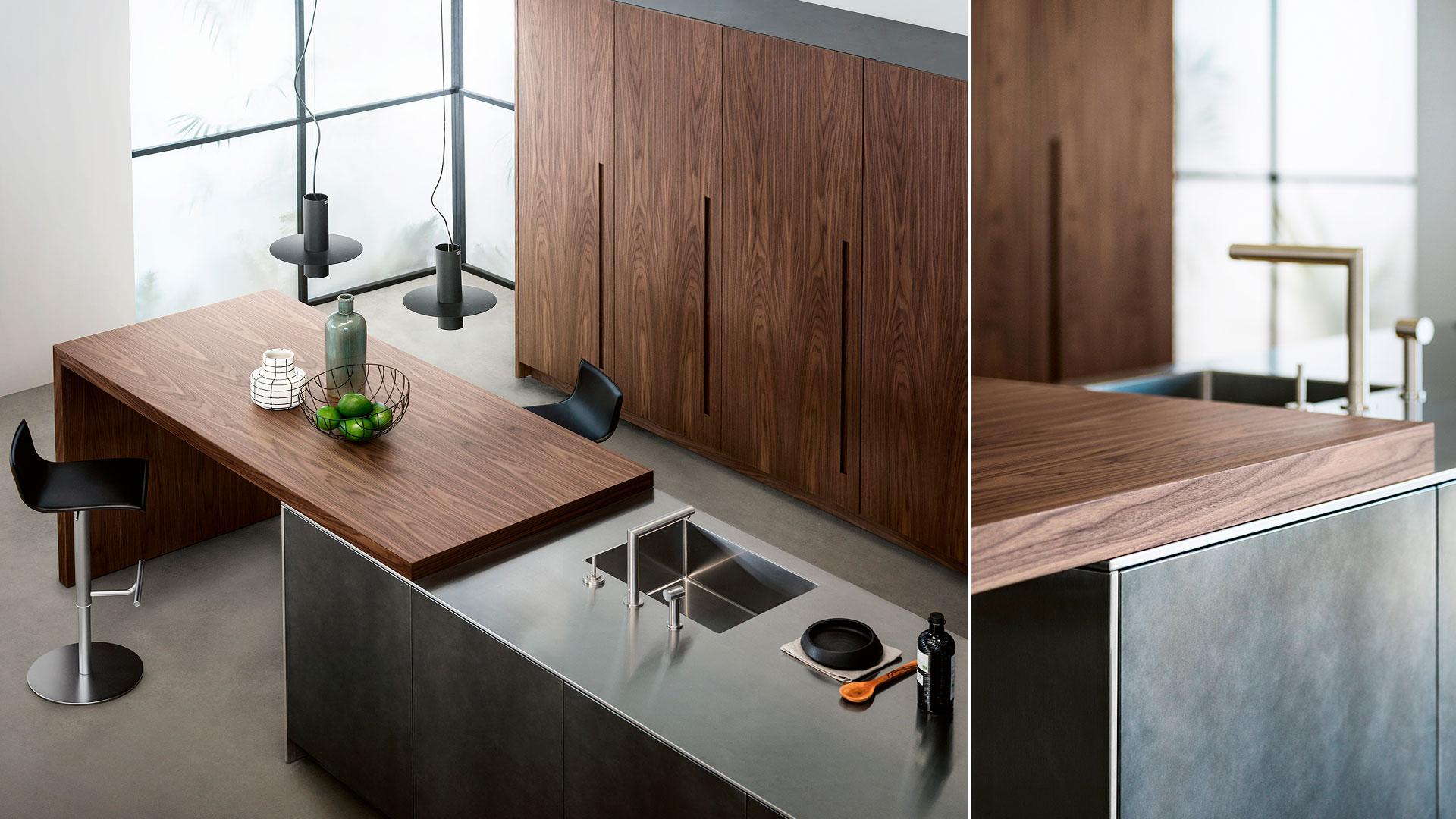 Cucina in legno e acciaio con isola D90 | Collezioni Cucine 2018 TM Italia - TM_CAT_D90_003