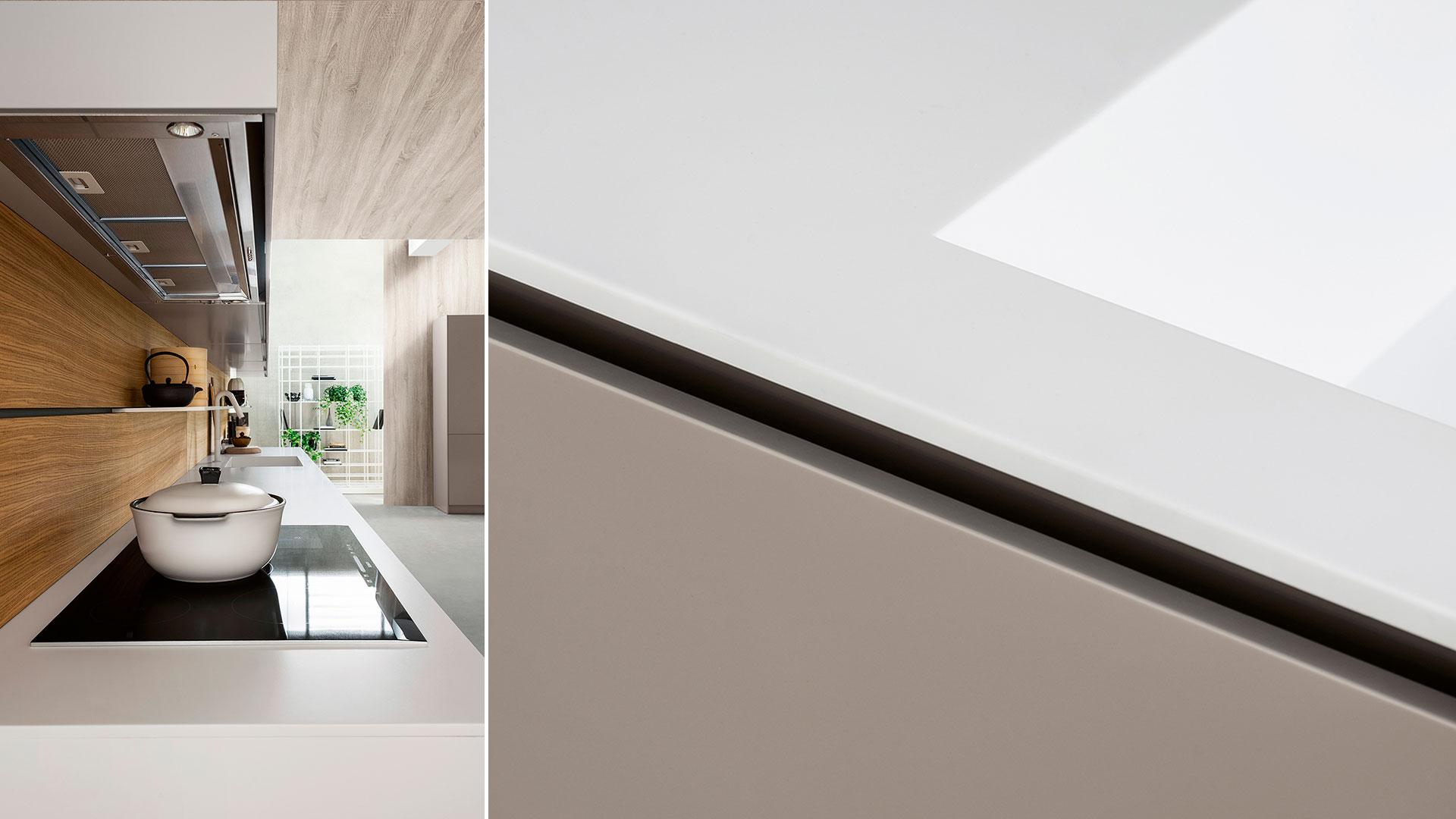 Freestanding modern kitchen in Corian | TM Italia 2018 Kitchens Collection - TM_CAT_K6_003