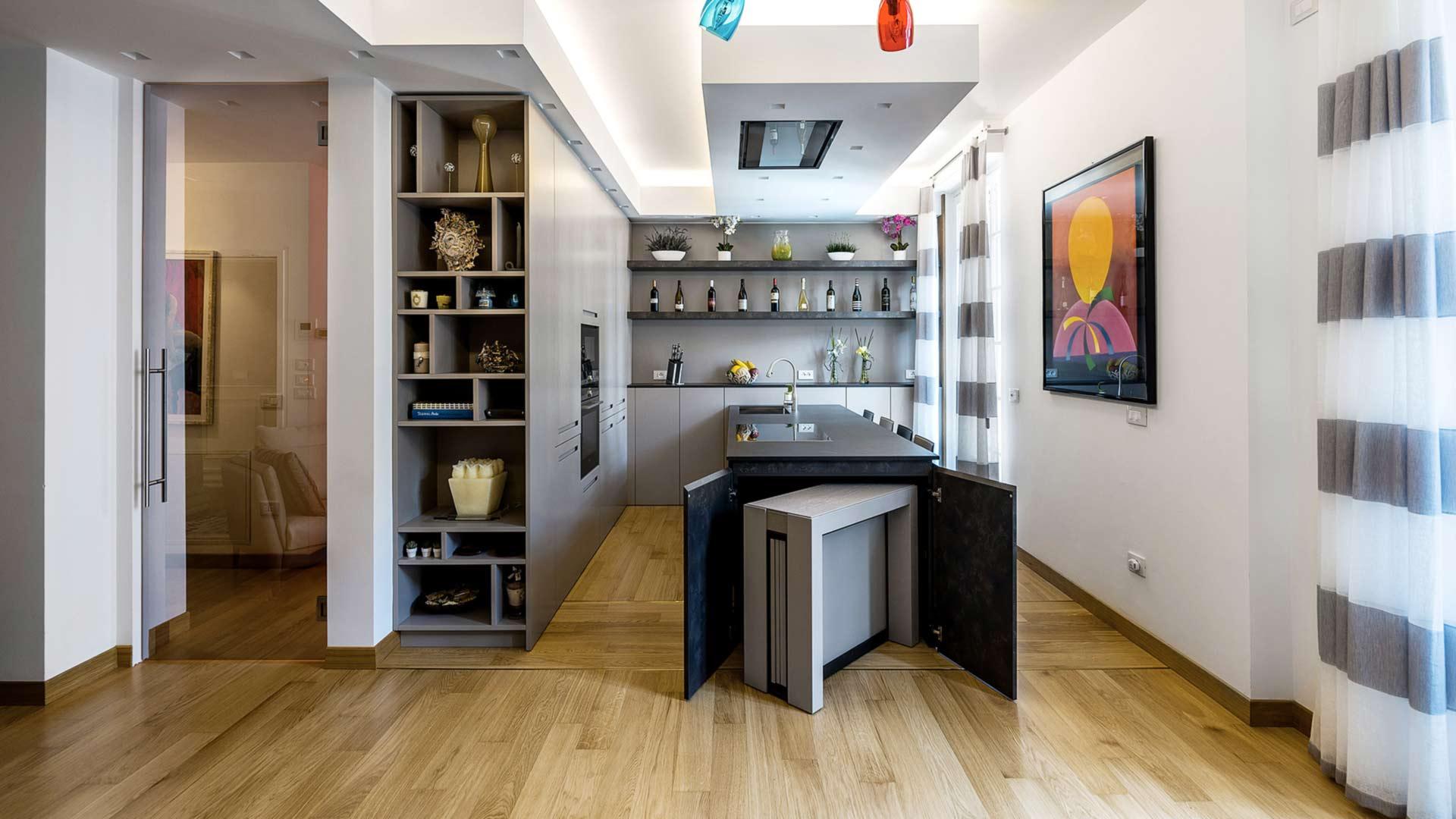 Cucina Con Penisola In Laminato Caesar Brown Stone Inserita In Un