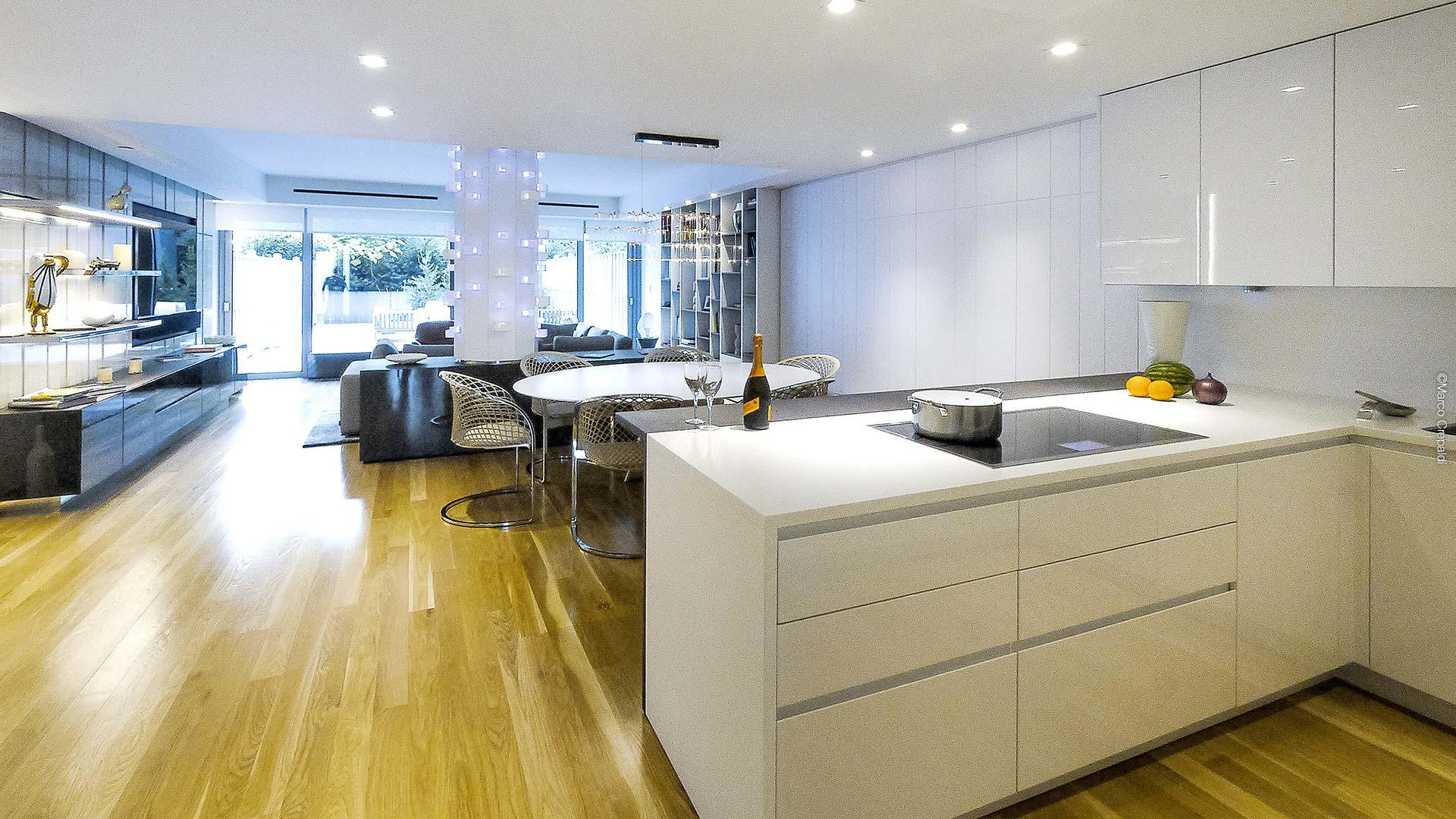 corian and wood corner kitchen