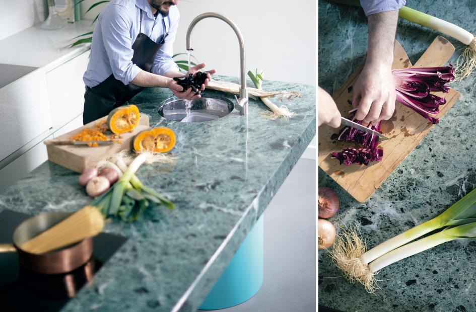 Una cucina in marmo per il progetto di hospitality CASA FLORA