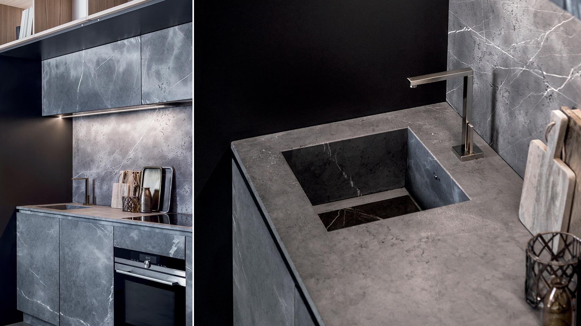 Cucina a scomparsa in pietra di Corinto e Olmo