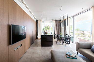 Interior: Refined and linear design for the interior project at Lido di Jesolo
