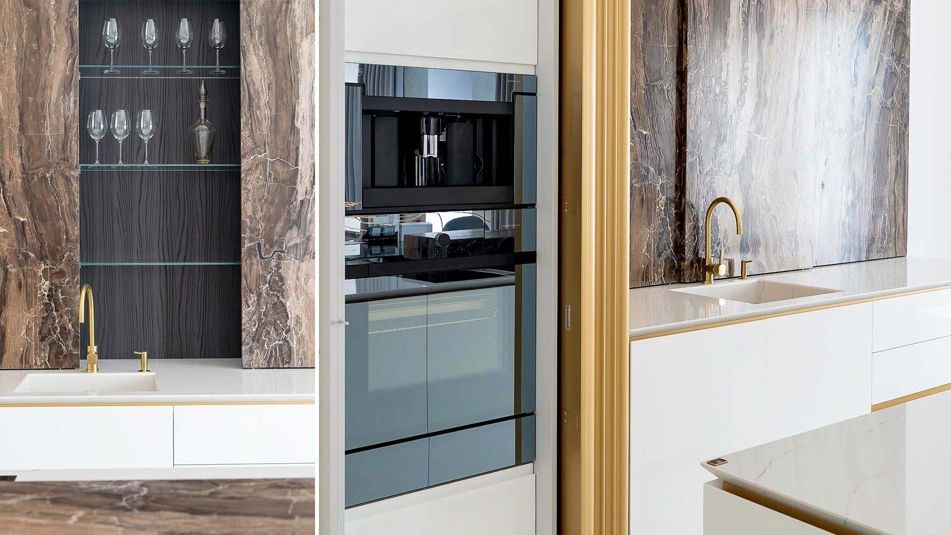 Cucina personalizzata con lato colonne e isola a San Pietroburgo - TM Italia - 201906-Cucina-personalizzata-con-lato-colonne-e-isola-2