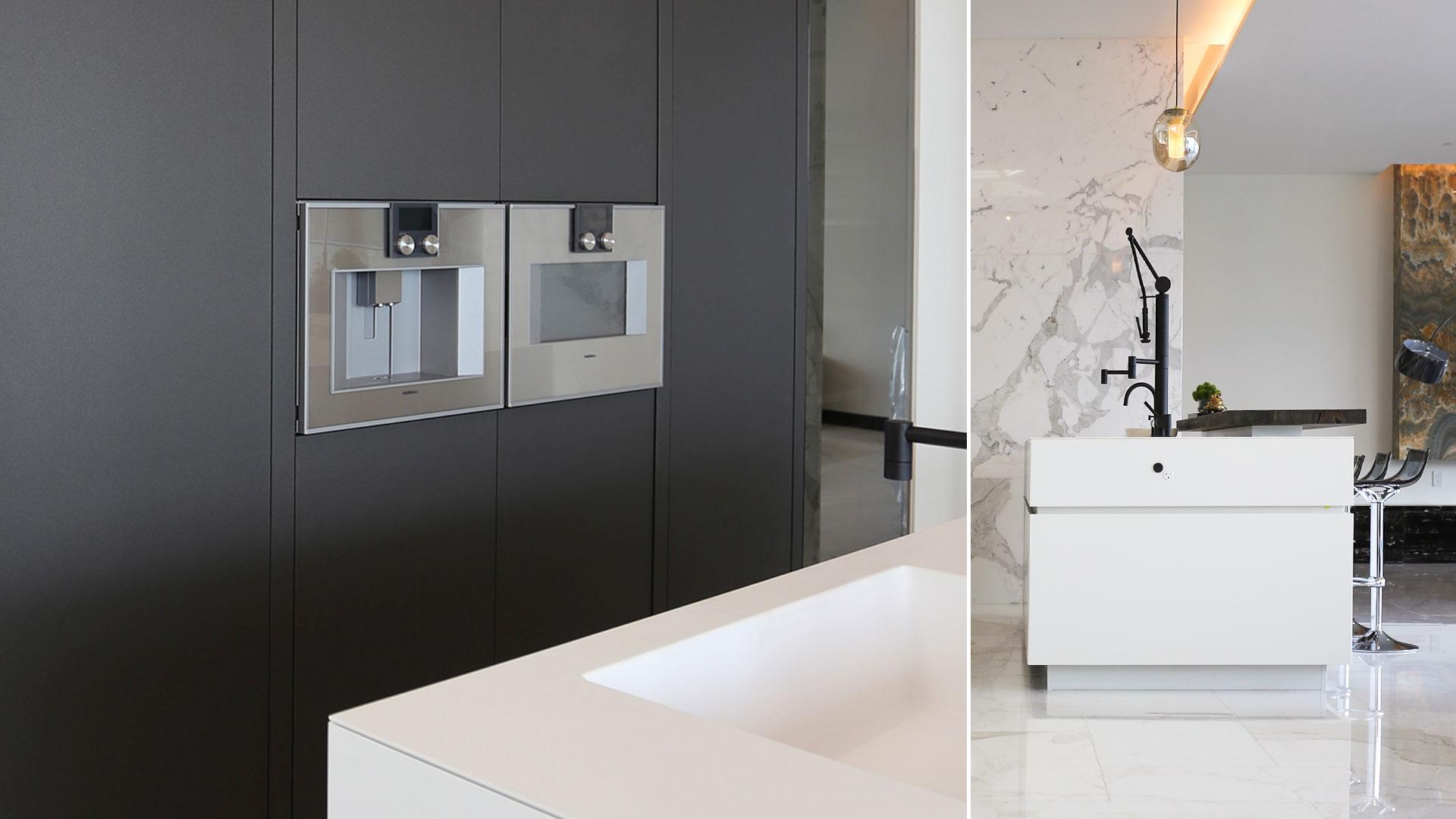 Cucina con isola laccata e lato colonne realizzata da TM Italia a Vancouver - 20190904_TMitalia_realizzazione-003
