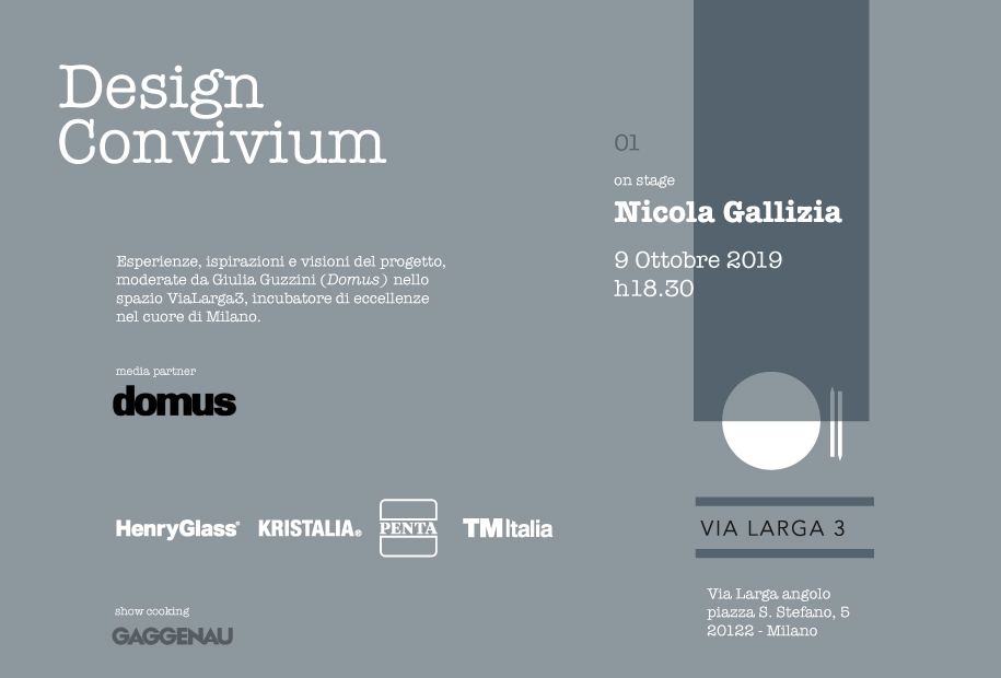 """Design Convivium"", il primo evento in ViaLarga3 con Nicola Gallizia"