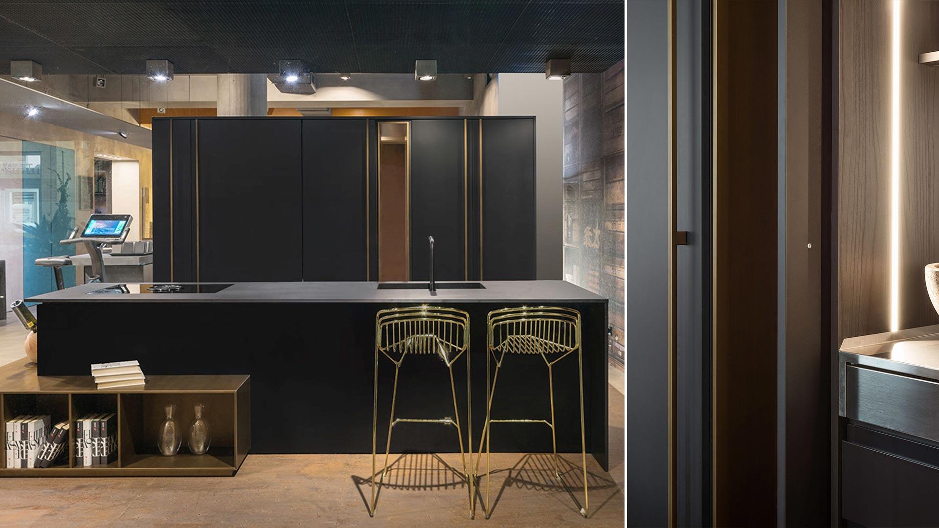 Cucina con lato colonne lineare, colonne vetrina e isola realizzato a Roma - TM19_RM_G180-D90-IKN_expo1_002