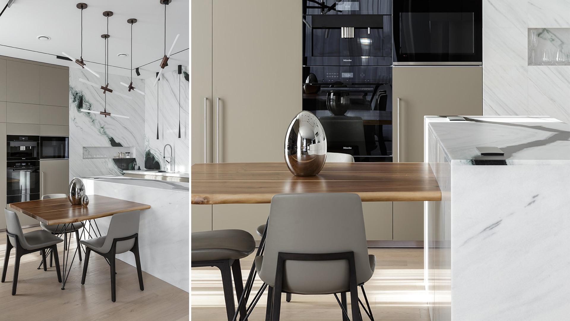 Cucina TM Italia realizzata su tre lati con isola e tavolo adiacente - 202101_T45_D90_SaintPetersburg_003