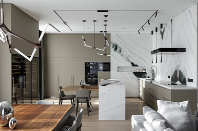 202102 – Cucina su tre lati con isola e tavolo adiacente